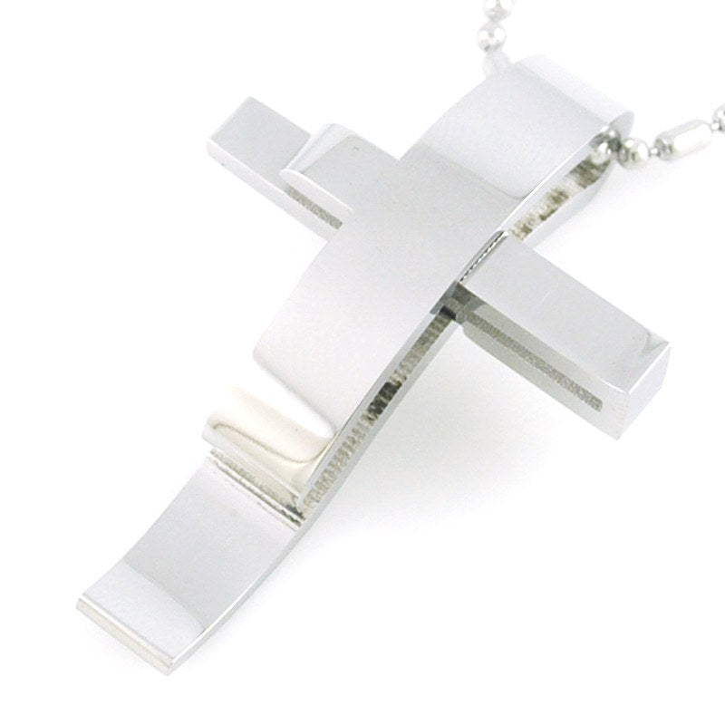 Silver Color Cross Stainless Steel Pendant Necklace Men Women Chain Murano Christian Jewelry - Special Design Jewelry - 7