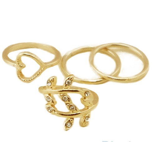 4 Piece Gold Plated Crystal Ring Set - Special Design Jewelry - 2