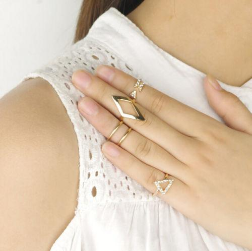 5 Piece Gold and Silver Tipped Ring Stacker Set - Special Design Jewelry - 1