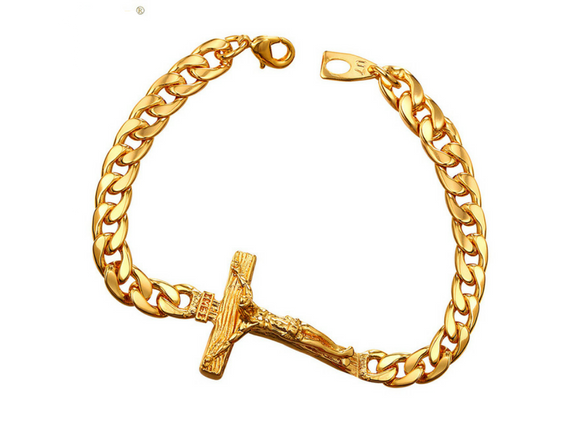 2018 Premium 18k Gold Cross INRI Crucifix Bracelet