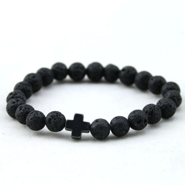 Natural Lava Stone Bead Cross Bracelet