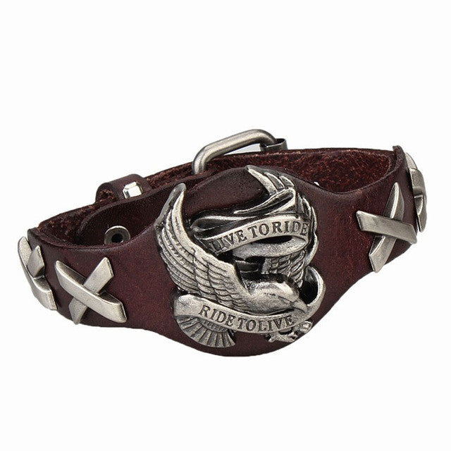 Leather and Stainless Steel Bikers Bracelet