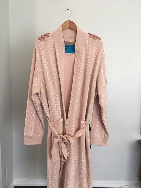 French Terry Chevron Robe in Pink