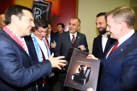 Turkish and Greek prime ministers with Okka