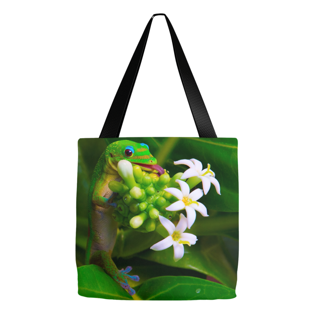 """Gecko Kisses"" 16""x16"" Eco Tote Bags"