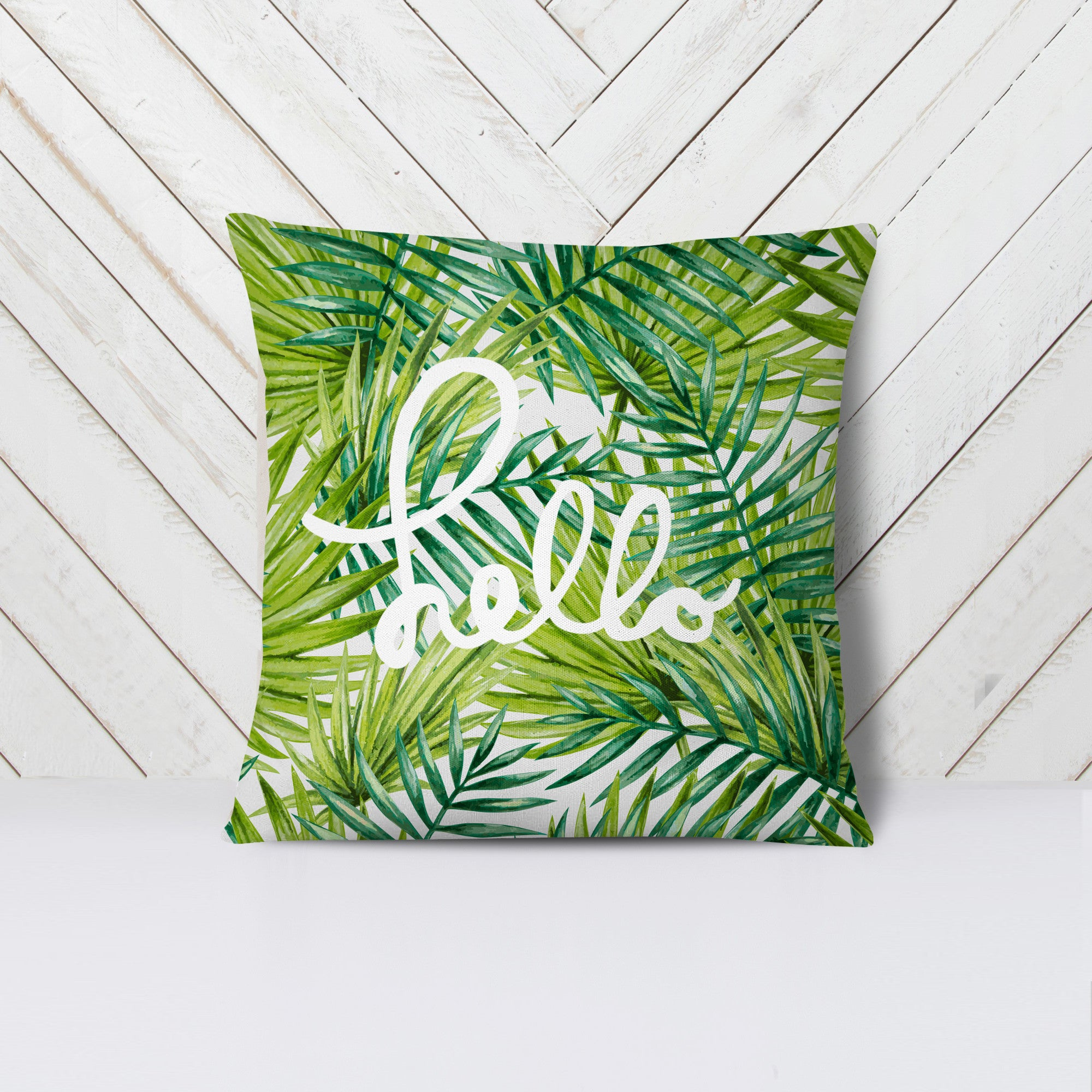 """Hello"" Palm Tree Pillow"