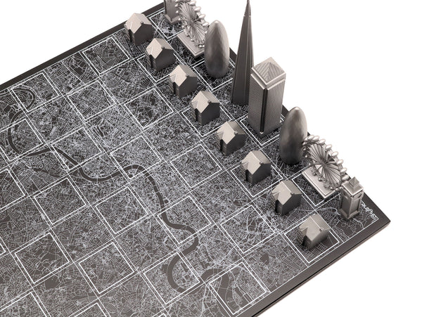 SKYLINE CHESS SET  - Premium Metal Edition with wooden map board