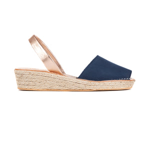 Load image into Gallery viewer, ESPADRILLE LOW WEDGE - NUBUCK NAVY/ROSE GOLD