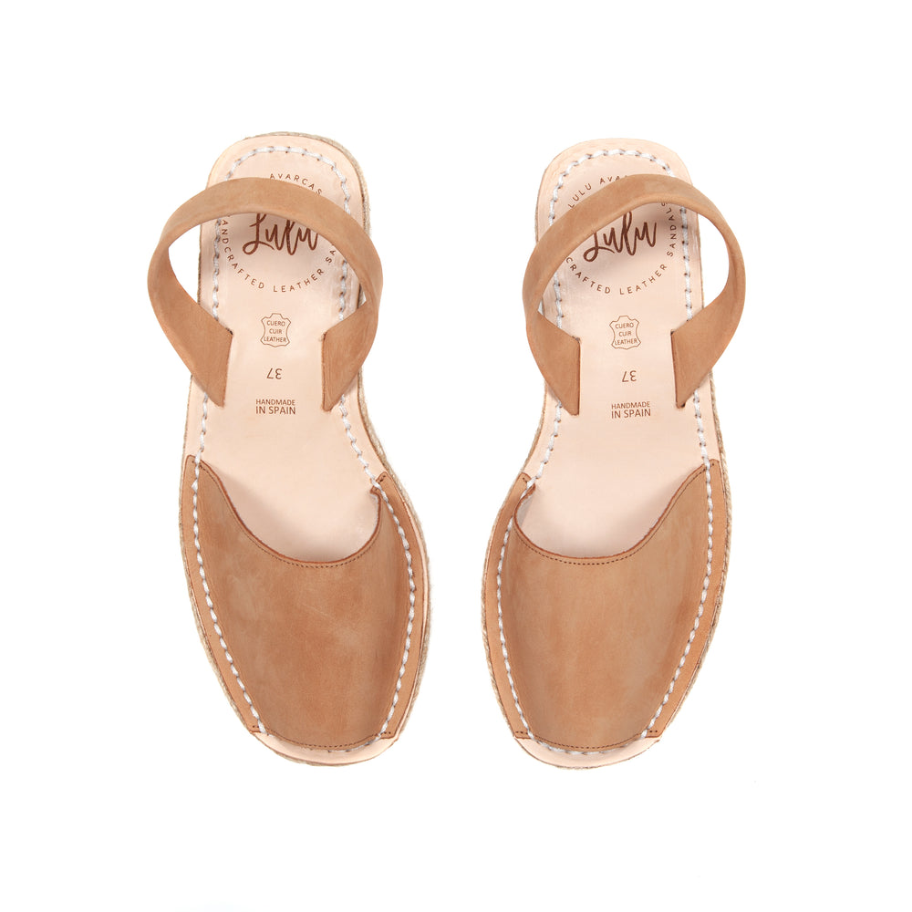 Load image into Gallery viewer, ESPADRILLE LOW WEDGE - NUBUCK TAN