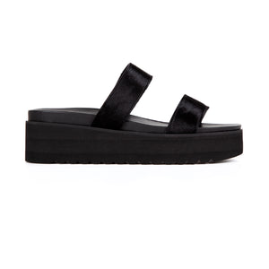 DOUBLE STRAP FLATFORMS - PONY BLACK