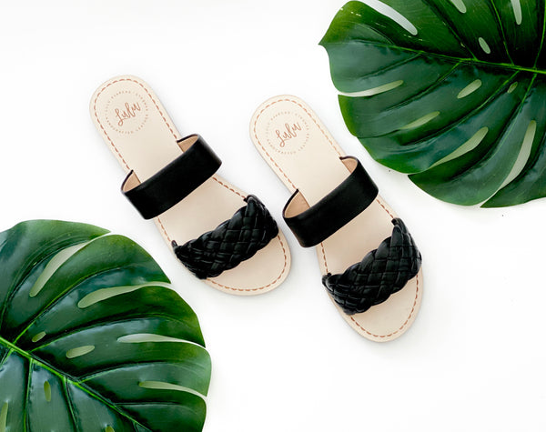 DOUBLE STRAP SLIDE - WOVEN BLACK