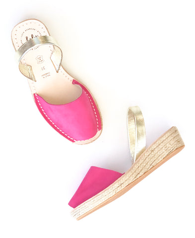 ESPADRILLE LOW WEDGE - NUBUCK FUSCHIA/DIAMOND
