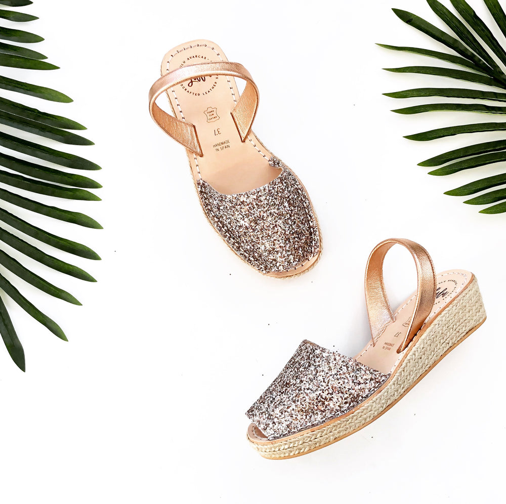 ESPADRILLE LOW WEDGE - CHAMPAGNE GLITTER/ROSE GOLD