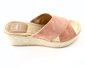 Load image into Gallery viewer, ESPADRILLE CROSSOVER WEDGE - NUBUCK PEACH