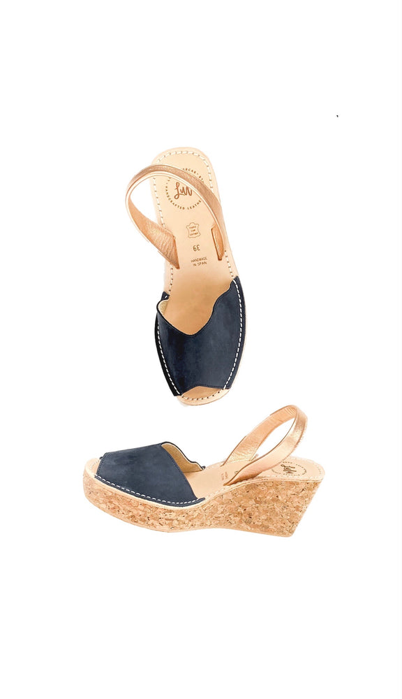 Load image into Gallery viewer, CORK WEDGE - NUBUCK NAVY/ROSE GOLD