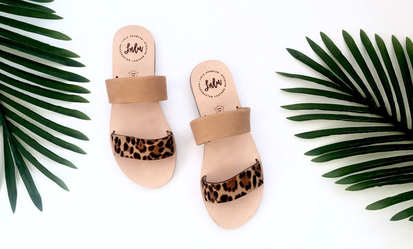 DOUBLE STRAP SLIDE - LINCE LEOPARD/TAN