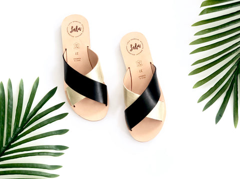 CROSSOVER SLIDE - METALLIC GOLD/BLACK