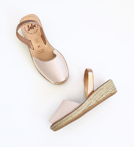 ESPADRILLE LOW WEDGE - DUSKY PINK/ROSE GOLD