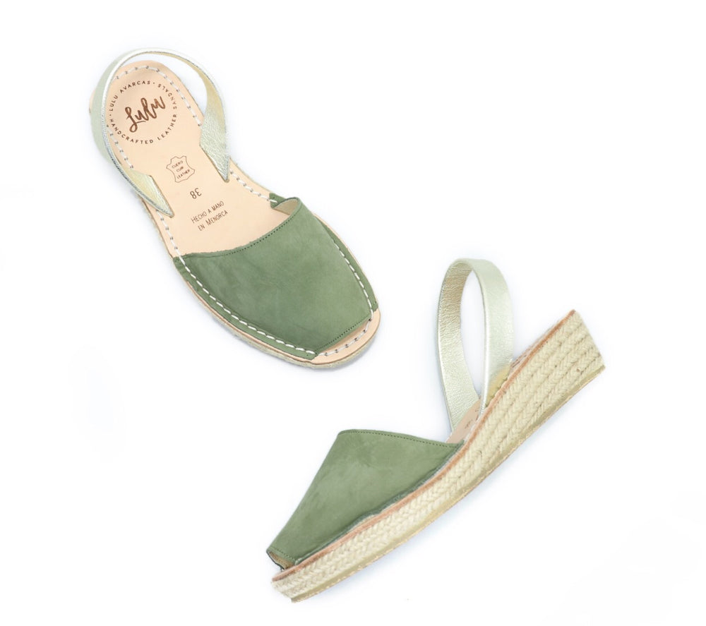 ESPADRILLE LOW WEDGE - NUBUCK KHAKI/GOLD