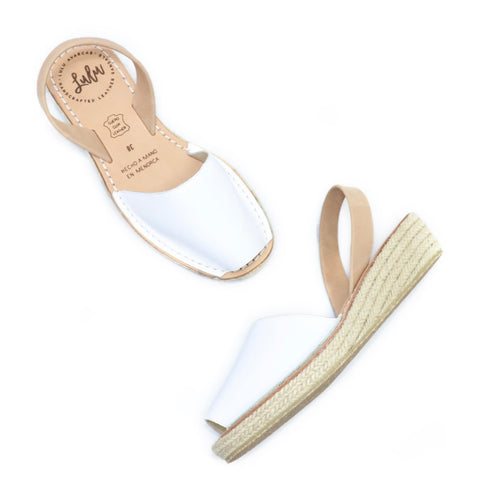 ESPADRILLE LOW WEDGE - WHITE/TAN