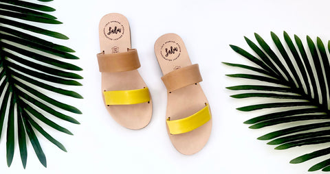 DOUBLE STRAP SLIDE - AMARILLO/TAN