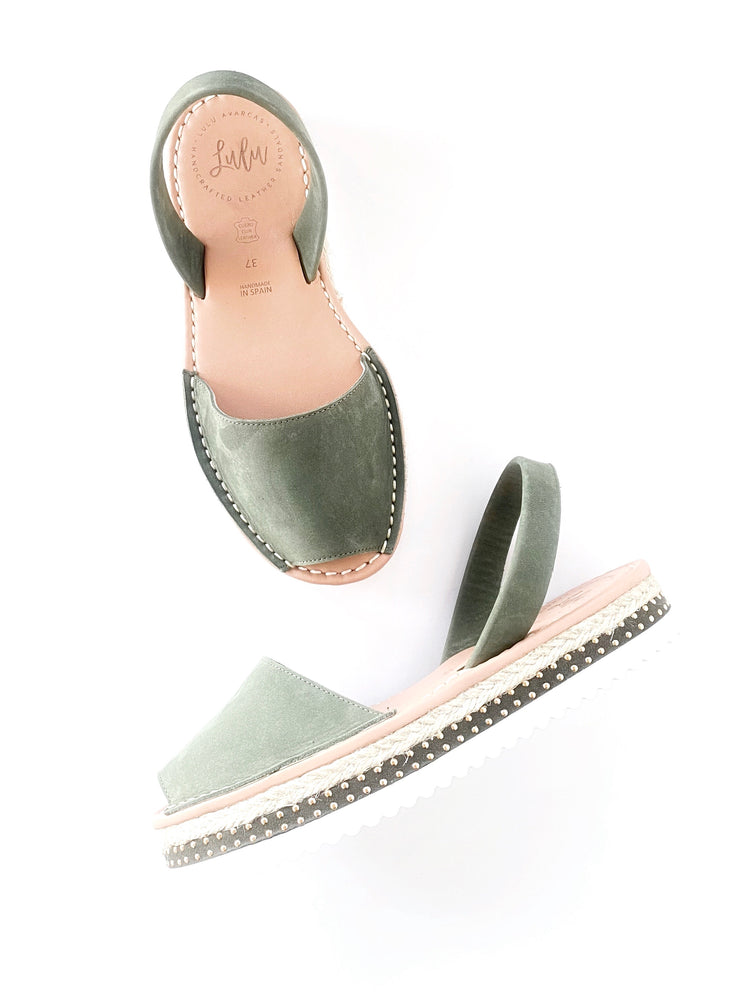 Load image into Gallery viewer, FLATFORM - ESPADRILLE NUBUCK KHAKI