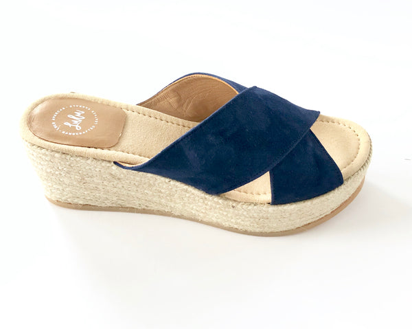 ESPADRILLE CROSSOVER WEDGE - NUBUCK NAVY