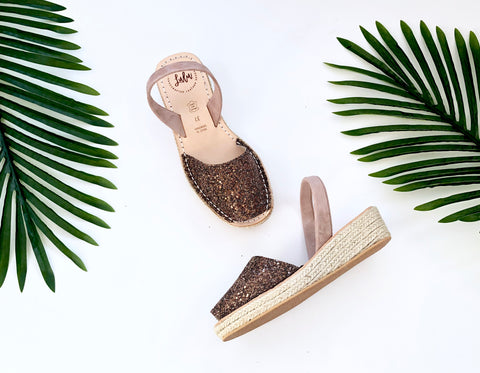 ESPADRILLE LOW WEDGE - MOKA GLITTER