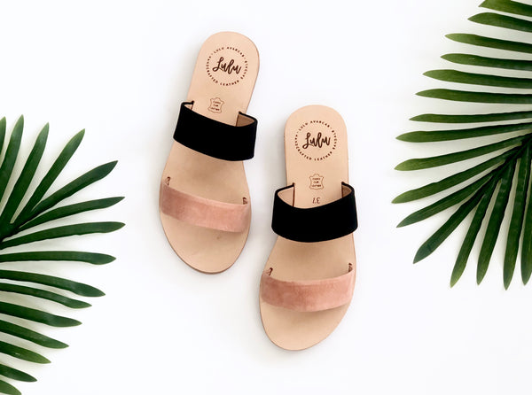 DOUBLE STRAP SLIDE - NUBUCK DUSKY ROSE/BLACK