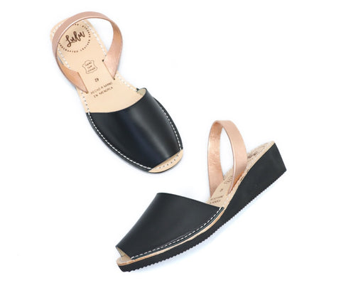 LOW WEDGE - BLACK/ROSE GOLD
