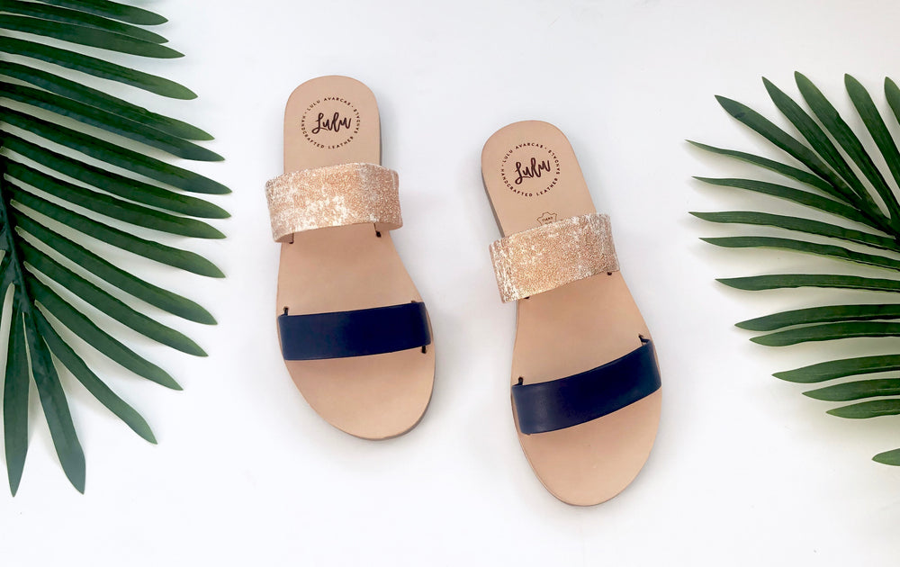 DOUBLE STRAP SLIDE - LUXE ROSE/AZZURRO