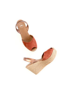 Load image into Gallery viewer, ESPADRILLE WEDGE - NUBUCK SPICE