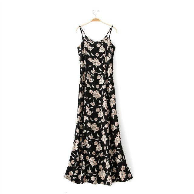 Summer Women\'s Fashion Floral Print Cotton Spaghetti Strap Slim Prom ...