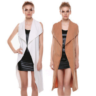 [3 COLORS] NEW Women Sleeveless Coat Cape Belted Waterfall Cardigan Waistcoat Trench Jacket