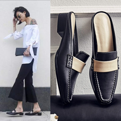 Summer Leather Square Toe With Heel Shoes Slippers [4920625668]