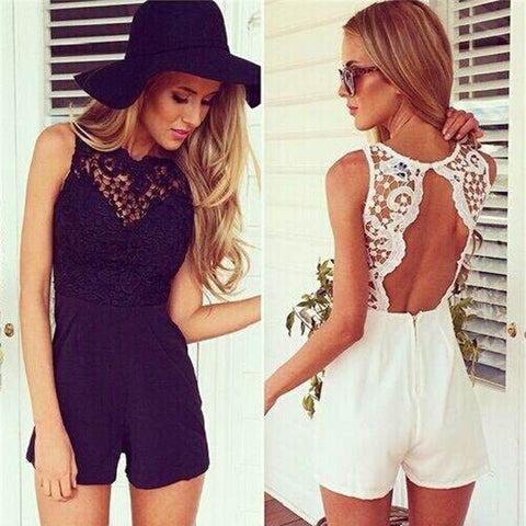 Fashion Women Jumpsuit Short Print Dress V Neck Lace White Dress = 4769221508