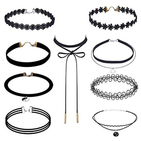 Vintage Chocker 3/4/6/8/9/10Pcs Stretch Velvet Gothic Lace Choker Maxi Necklace Punk Fashion [9601107919]