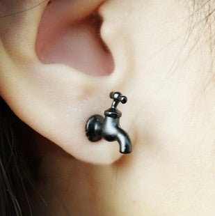 Cool Black Tap Stud Earring Single = 1644791044