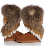 winter warm high long snow boots artificial fox rabbit fur leather tassel women's shoes (US Size) = 1645687108
