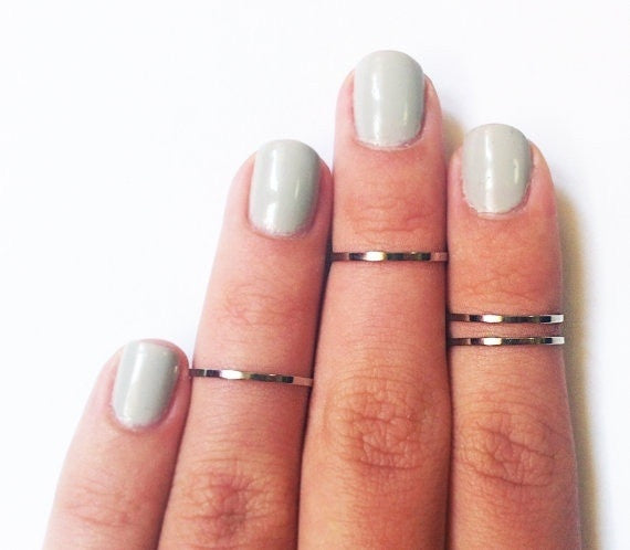 4 Above the Knuckle Rings - Plain Band Knuckle Rings, Silver thin shiny rings - set of 4 midi rings, unique gift for her = 1645649540