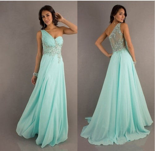 4dc56c22a26 Mint Chiffon long evening dresses formal ball prom gown beading crystal    1956892292 ...