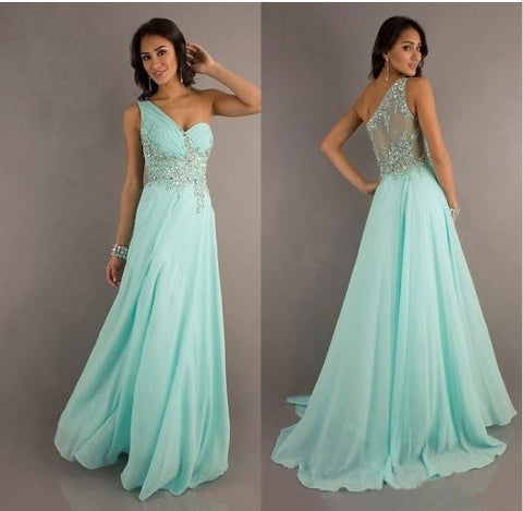 Mint Chiffon long evening dresses formal ball prom gown beading crystal = 1956892292