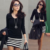 Korean Ladies Large Size Fashion Slim Striped Dress AP = 1645843908