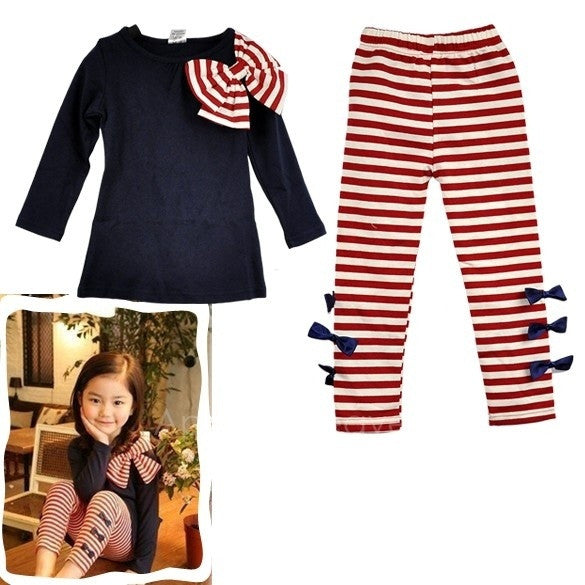 2 PCS Baby Girl Long Sleeve Bowknot T-Shirt Tops + Leggings Pant Trousers Outfit Clothes Set Toddler Dress AP = 1651100356