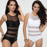 2014 Plus Size ladies sexy one piece swimsuit bandage cut out open monokini women swimwear bathing suit black white SV002410 = 1957995140