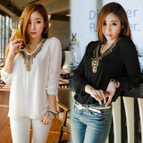 Women's Girl Long Sleeve Shirt V Collar Bronze Flat Studs Tops One size = 1645643524