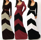 2014 New Fashion Women Sexy Geometric striped Color Block long sleeve Maxi Full Dress Sundress Cocktail Evening Dresses Free Belt【S-XXL 2XL】 = 1704277252