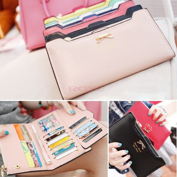 Korean Version of Bow Multi- Card Handbag Long Wallet Clutch SV001289 = 1645812164