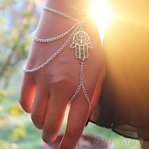 Asymmetric Mens Womens Hamsa Fatima Bracelet Finger Ring Slave Chain Hand Harness = 1645842692