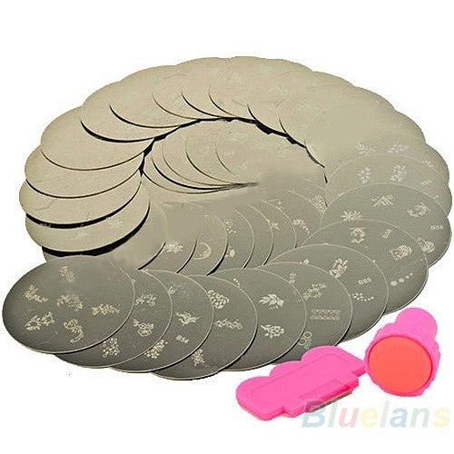 10x Nail Art Stamps Stamp Priint Design Metal Plate Sst With Stamper Transfer Kit = 1652508292